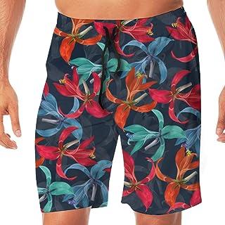 Mens Swim Board Shorts Blue Animals Leaves Grey Wolf Fox Quick Dry Side Pockets Beach Wear Shorts Graphic