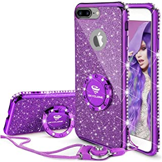 Cute iPhone 8 Plus Case, Cute iPhone 7 Plus Case, Glitter Luxury Bling Diamond Rhinestone Bumper with Ring Grip Kickstand Protective Thin Girly iPhone 8 Plus/ 7 Plus Case for Women Girl - Purple