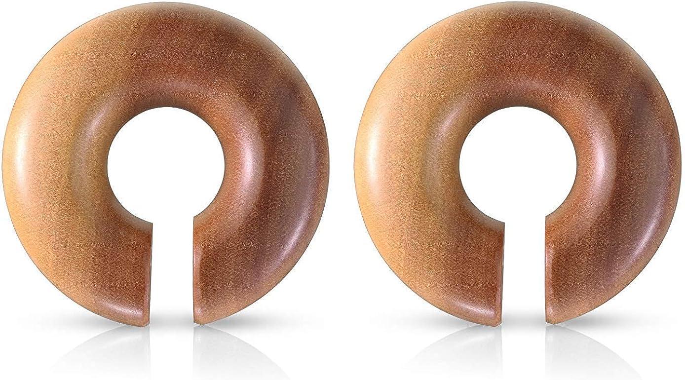 Covet Jewelry Organic Saba Wood Round Ear Spiral Taper/Septum Hangers