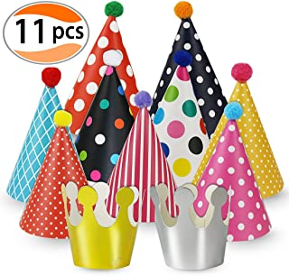 Cefanty Party Hats 11 Pack Fun Cone Party Hats for Kids or Adults