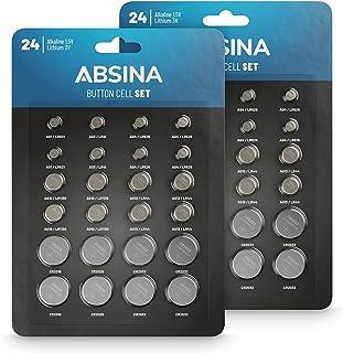 ABSINA Lot de 48 piles bouton alcalines et lithium - 4 x AG1 / 4 x AG3 / 8 x AG4 / 8 x AG10 / 8 x AG13 / 4 x CR2016 / 4 x ...
