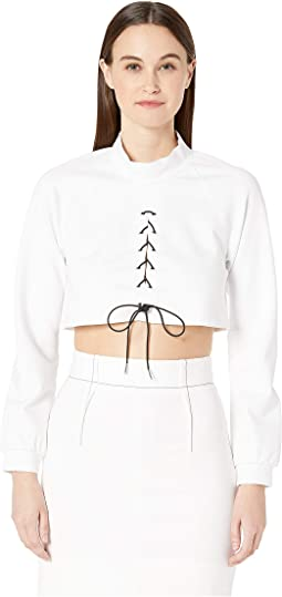 Long Sleeved Mock Neck Top with Contrast Laced Cording