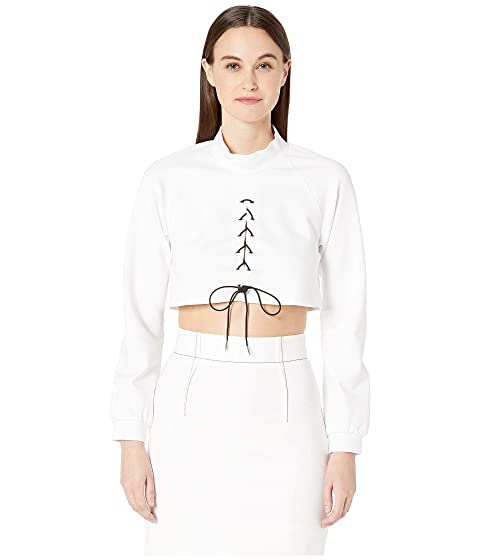 Cushnie Long Sleeved Mock Neck Top with Contrast Laced Cording