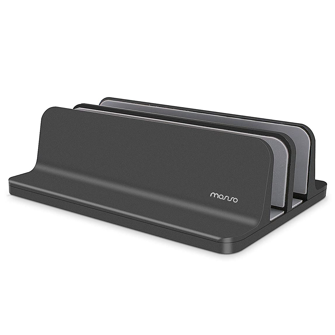 観客みすぼらしい落ちたMosiso ノートパソコン スタンド 縦置き 2台収納 冷却 ノートpcスタンド 幅調節可能 滑り止め 安定 PCホルダー MacBook/ラップトップ/iPad / タブレットなど17インチまでに対応 アルミ製(ブラック)