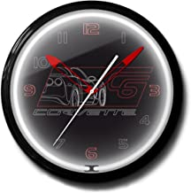 """product image for Corvette C6 Black Genuine Vette Emblem Neon Wall Clock 20"""" Made In USA, 110V Electric, Aluminum Spun Case, Powder Coated Finish, Glass Face, Brass Movement, Pull Chain, 1 Year Warranty"""