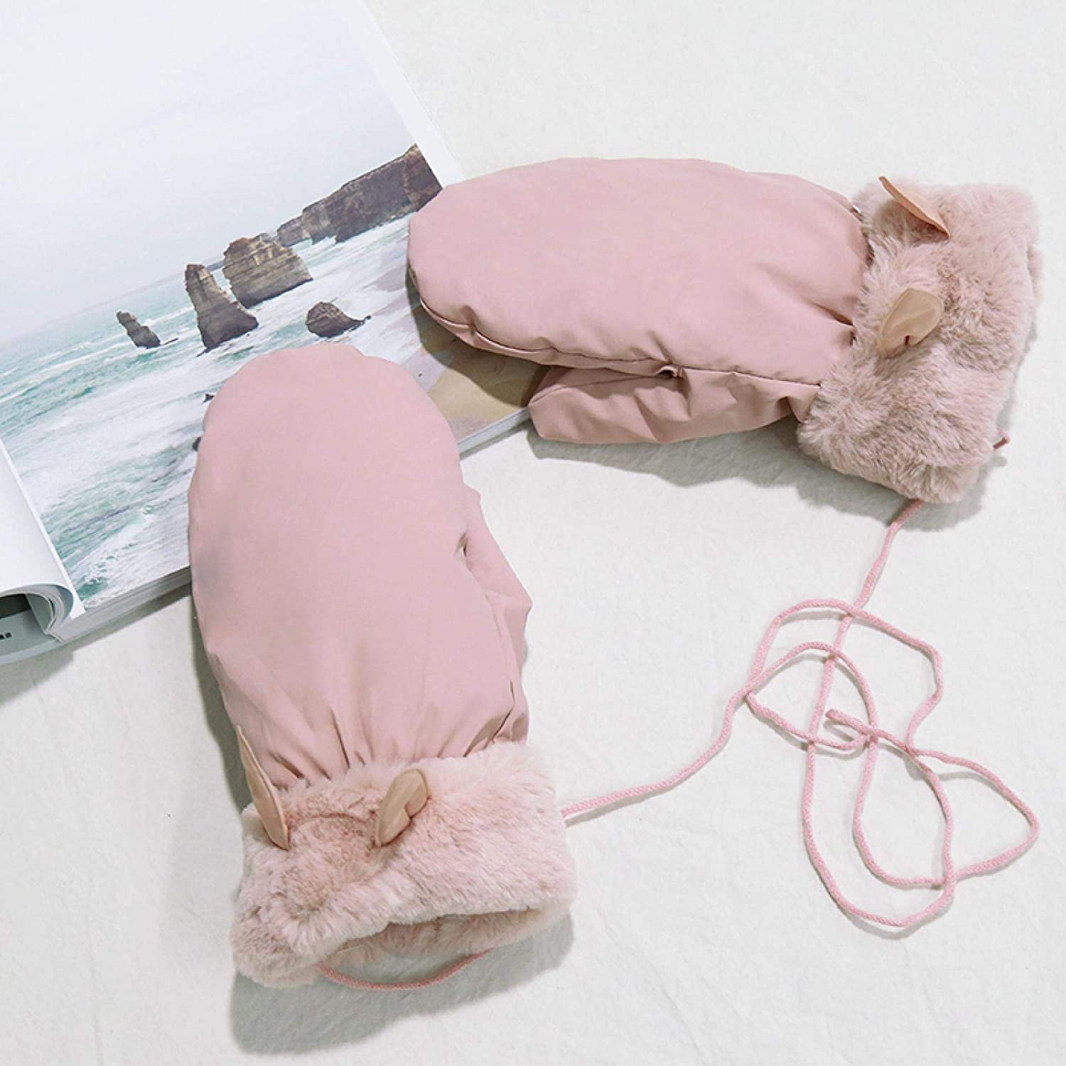 AMILIEe Winter Women's Gloves Cute Cycling with Cold and Windproof Down Cotton Winter Plus Velvet Thick Warm Gloves 均码 可爱小耳朵一粉色