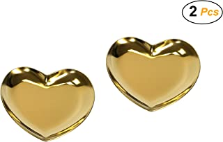 Easy 99 2 Pcs Stainless Steel Heart Tray Catchall Tray Trinket Dish Candle Plate Cosmetics Jewelry Organizer (Gold)