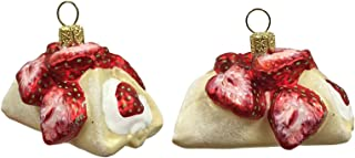 Pinnacle Peak Trading Company Strawberry Filled Cannoli Cake Polish Glass Christmas Ornament Dessert Set of 2