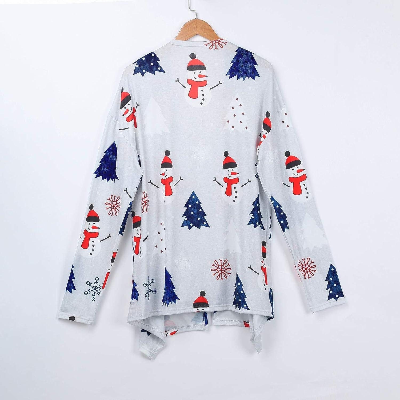 Ansenesna Cardigan Mit Schalkragen Damen Weihnachten Weihnachtsmann Schneemann Drucken Elegant Mantel Frauen Herbst Winter Langarm Jacke Grau
