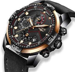 Mens Watches Waterproof Chronograph LIGE Black Leather Analog Quartz Military Watch Men Luxury Brand Fashion Dress Multi-Function Business Wristwatch