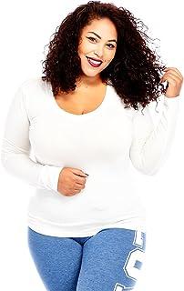 Bozzolo Womens Ladies Plus Size Curvy Cotton Basic V-Neck Long Sleeves Tops (XL, White)