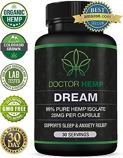 Doctor Hemp Dream | for Sleep Support & Anxiety Relief | 750mg of Pure Organic Hemp Extract + Melatonin, Chamomile, Valerian Root, L-Theanine, GABA | Natural Sleep Aid | Vegan, Non-GMO | 30 Serv