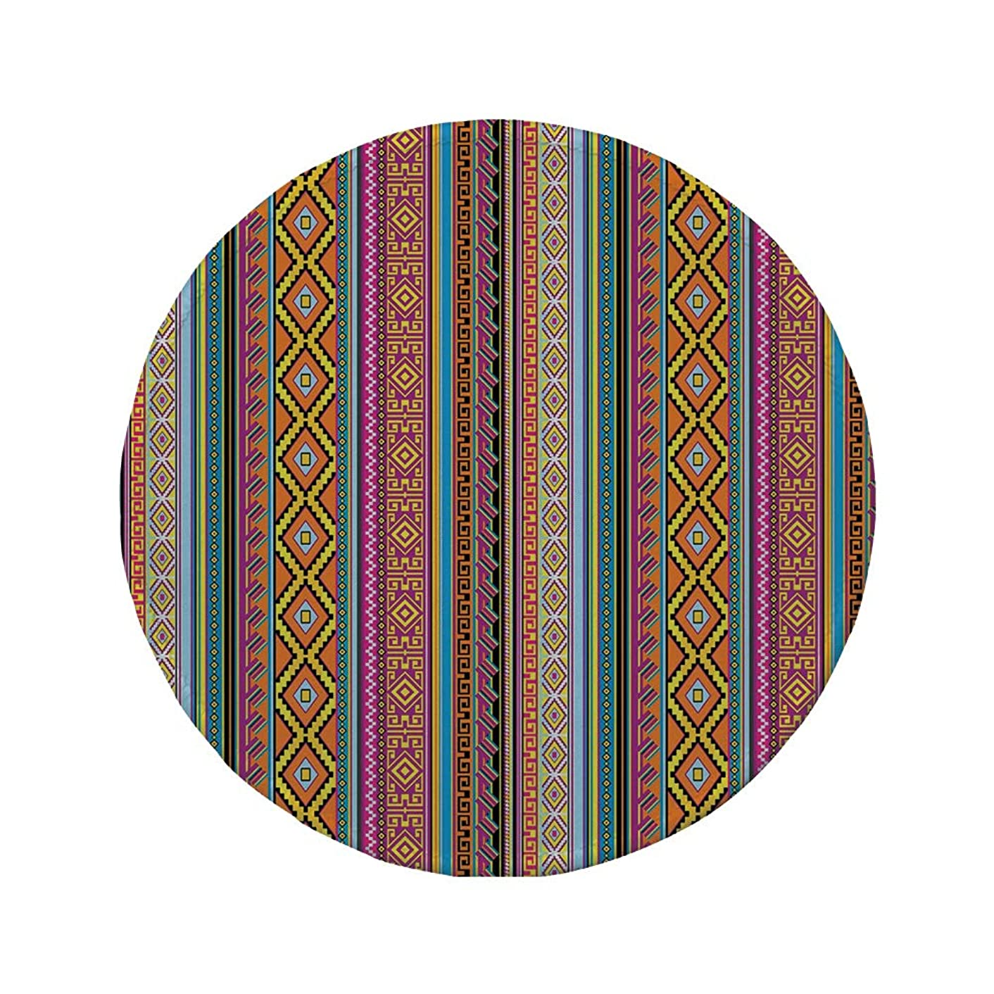 Non-Slip Rubber Round Mouse Pad,Ethnic,Folk Aztec Pattern with Native American Tribal Effects and Geometric Forms Artwork Decorative,Multicolor,11.8