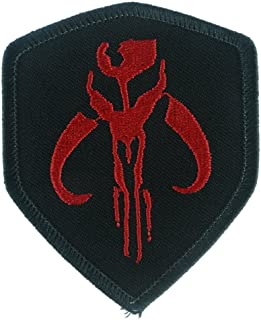 Iron Sew On Applique Patch : Star Wars Mandalorian Bantha Skull Mercenary (Black/Red)