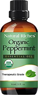 Organic Peppermint Oil, USDA Certified Pure Peppermint Essential Oil, Aromatherapy/Diffuser Therapeutic Grade Mentha Arven...