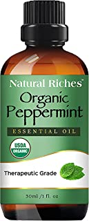 Natural Riches Organic Peppermint Oil, USDA Certified Organic, Undiluted, Natural Peppermint Essential Oil Aromatherapy, Therapeutic Grade Mentha Piperita - Cooling Smell with Fresh Mint Oil & Menthol