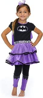 DC Comics Batgirl & Supergirl Girls' Costume Dress Cape Leggings & Headband
