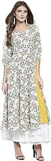 Sera Women's Printed Cream Polyester Anarkali Fusion Calf Length Kurta and Skirt Set