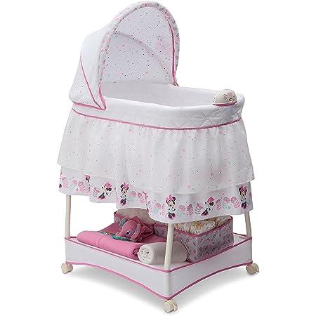 Delta Children Gliding Bedside Bassinet - Portable Crib with Lights, Sounds and Vibration, Disney Minnie Mouse Boutique