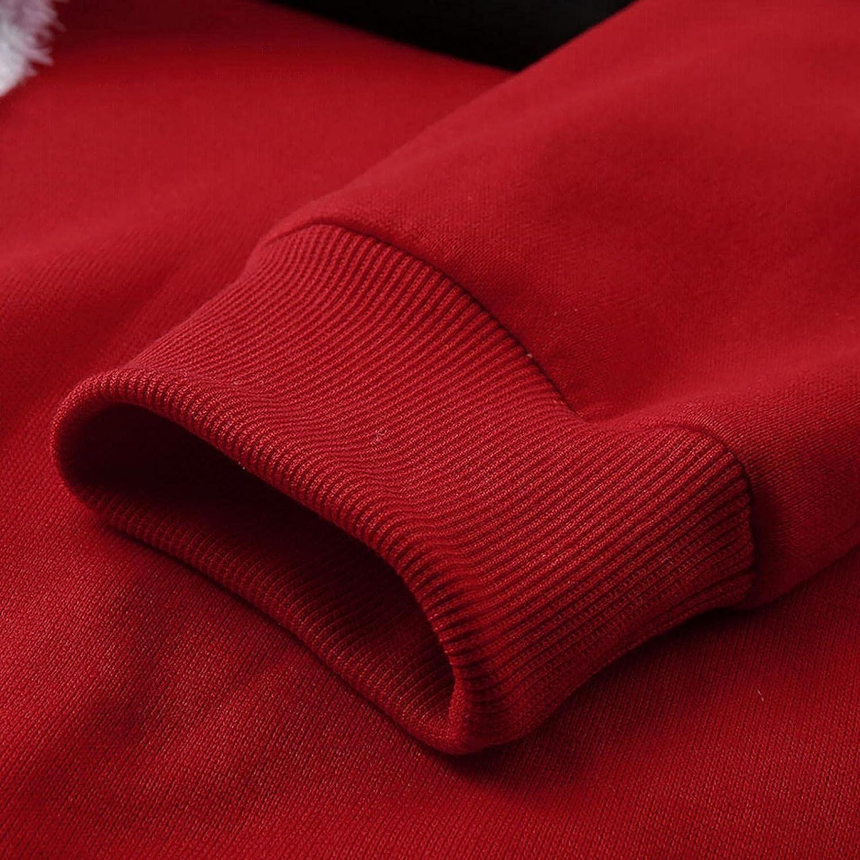 Xmas Christmas Hoodies For Men Closplay Santa Claus Contrast Fleece Hooded Sweatshirt Long Sleeve Pullover Top