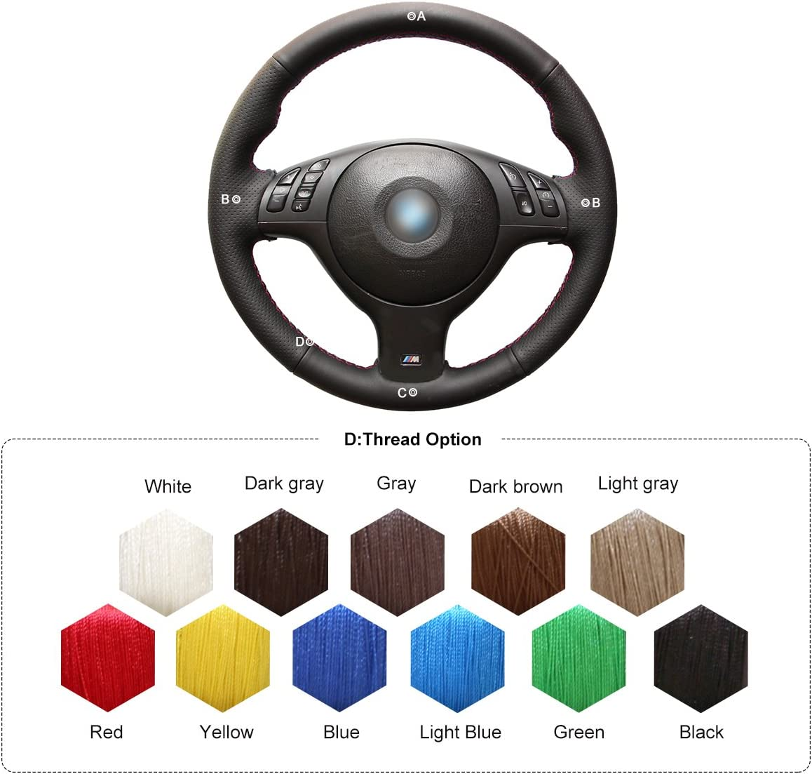 M3 2001-2006 M5 2000-2003 MEWANT Customized DIY Durable Black Artificial Leather Car Steering Wheel Covers Wrap for BMW 3 Series E46 E46//5 2004-2005//5 Series E39 2002-2003