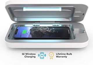 PhoneSoap Wireless UV Smartphone Sanitizer & Qi Charger   Patented & Clinically Proven UV Light Disinfector   (White)