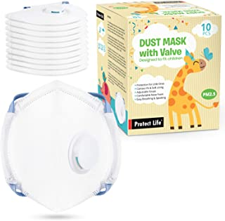 Dust Mask for Kids - 10 pack - Small Size Disposable Masks with Breathing Valve | Protection from Dust, Pollution, Allergens, Pollen, Pet hair