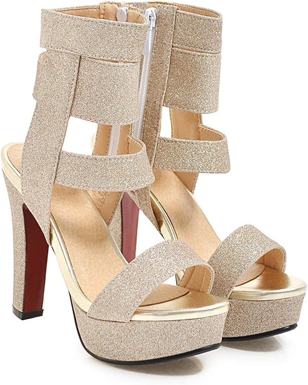 YuJi Sandals Women Gladiator shoes Platform Thick Heel shoes Zipper Super High Heel Sandals,gold,3