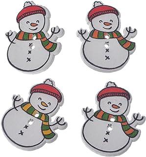 Pacote com 30 peças de botões de madeira em forma de boneco de neve de Natal branco Souarts