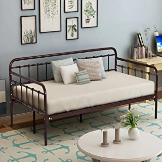 HOMERECOMMEND Metal Daybed Frame Twin Steel Slats Platform Base Box Spring Replacement Bed Sofa for Living Room Guest Room (Twin, Dark Copper)