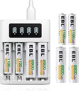 EBL 単三 単四電池充電器パック LCD急速充電器+4本2800mAh単三電池+4本1100mAh単四電池 2つのポートを利用可能 USB充電器 Type-c充電器 単3形充電池 単4形充電池 ニッケル水素・ニカド電池に対応できる電池充電器セット