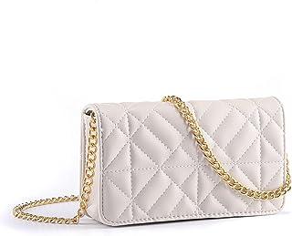 CHIC DIARY Damen kleine Umhängetasche PU Leder Tasche Rautenmuster Schultertasche Mode Crossbody Bag mit Metall Schultergurt