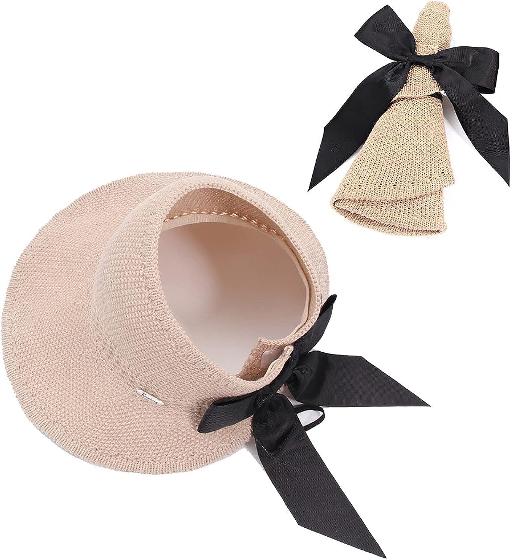 jingxing Bow Beach Straw Hats Women's Casual Sun hat Foldable Wide Brim Visor hat Sun Hats Easy to Carry Travel Cap(1)