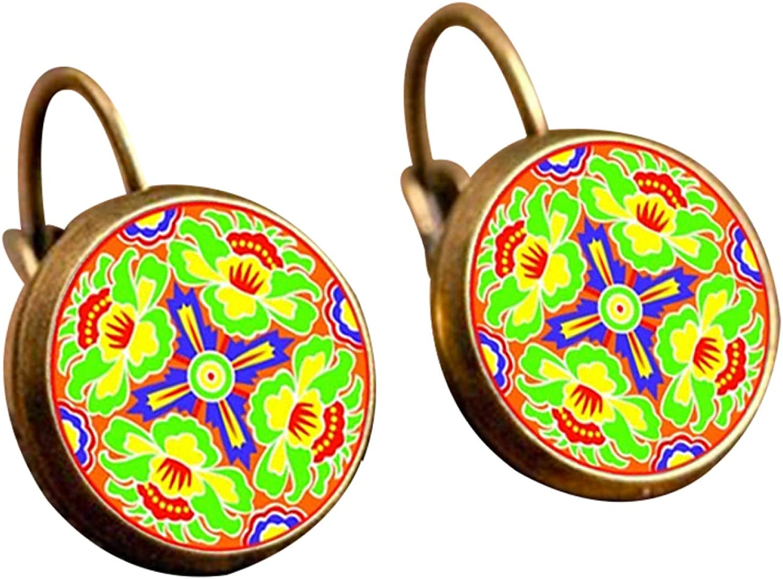 Retro Mandala Flower Round Bronze Ear Clips Girls Leaverback Earrings for Women Men Girls Boys