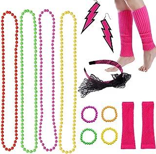 80s Fancy Dress Accessories Neon Necklace Bracelet Earrings Gloves Leg Warmers Headbands Fishnet