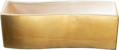 high quality Royal Imports Ceramic Flower Vase Decorative Centerpiece outlet sale for Home or Wedding, Low Succulent Planter Pot, lowest Wave Shape, Gold sale