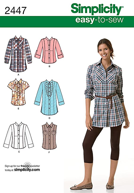 Simplicity Easy-to-Sew Pattern 2447 Misses Shirt in 2 Lengths with Front, Collar and Sleeve Variations Sizes 16-18-20-22-24