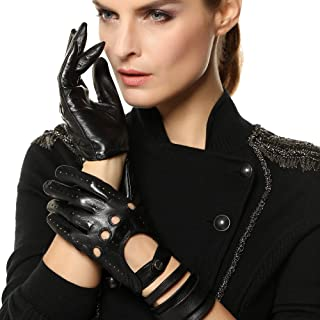 Tradional Women's Italian Nappa Leather Gloves Motorcycle Driving Open Back