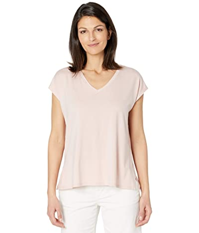 Eileen Fisher Fine Jersey V-Neck Boxy Neck Top (Powder) Women