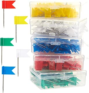 Flag Map Pins - 500-Pack Flag Push Pins Map Tacks, Decorative Push Tacks Colored Marking Pins for Bulletin Cork Board, Office, School - Red, Yellow, Green, White and Blue - 0.7 x 1.3 inches