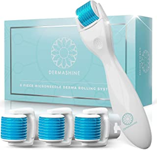 DermaShine Derma Roller 6 Piece Kit for Face & Body | Microdermabrasion 0.25mm Micro Needling Skin Care Set | 4 Heads, 600 Titanium Needles | Microneedle Roller Derma Planing Tool