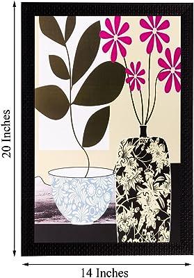 eCraftIndia 'Botanical Black and Pink Flower' UV Art Painting (Synthetic Wood, 36 cm x 51 cm, Matt Textured)