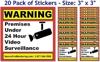 20 Real Warning Premises Under 24 Hour Video Surveillance Security Decals Door Window Stickers