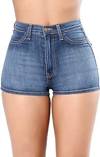 Tengo Women's High Waist Buttocks Denim Shorts