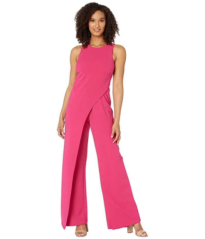 Adrianna Papell  Crepe Halter Jumpsuit with Overlay (Bright Rose) Womens Jumpsuit and Rompers One Piece