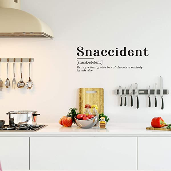 Vinyl Art Wall Decal Snaccident Eating A Family Size Bar Of Chocolate Entirely By Mistake 10 5 X 30 Funny Food Jokes For Home Cafe Restaurant Eatery Dining Room Kitchen 10 5 X 30 Black