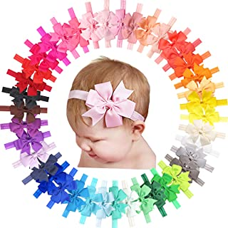 """40 Colors Baby Girls Headbands with 3"""" Hair Bows Elastic Soft Hair Band Hair Accessories for Infants Newborn and Toddlers"""