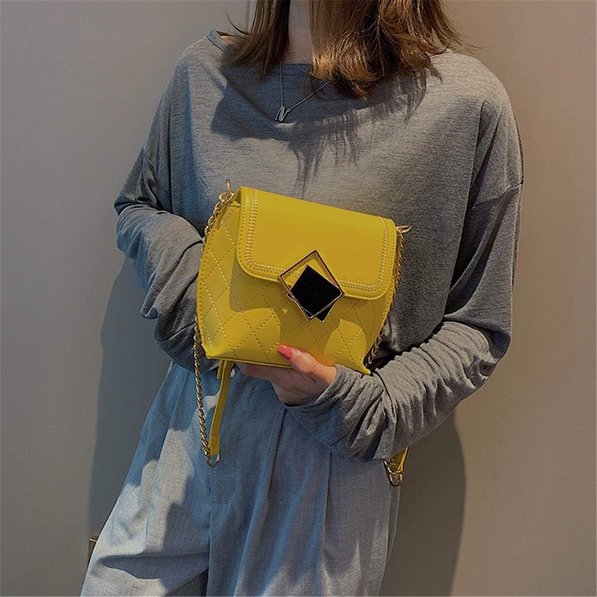 no brand Shoulder Bags Version coréenne de la chaîne Rhombus Petite Place Sac Une épaule de Mode Sauvage Texture Slanting Sac Tide (Color : Blue) Yellow