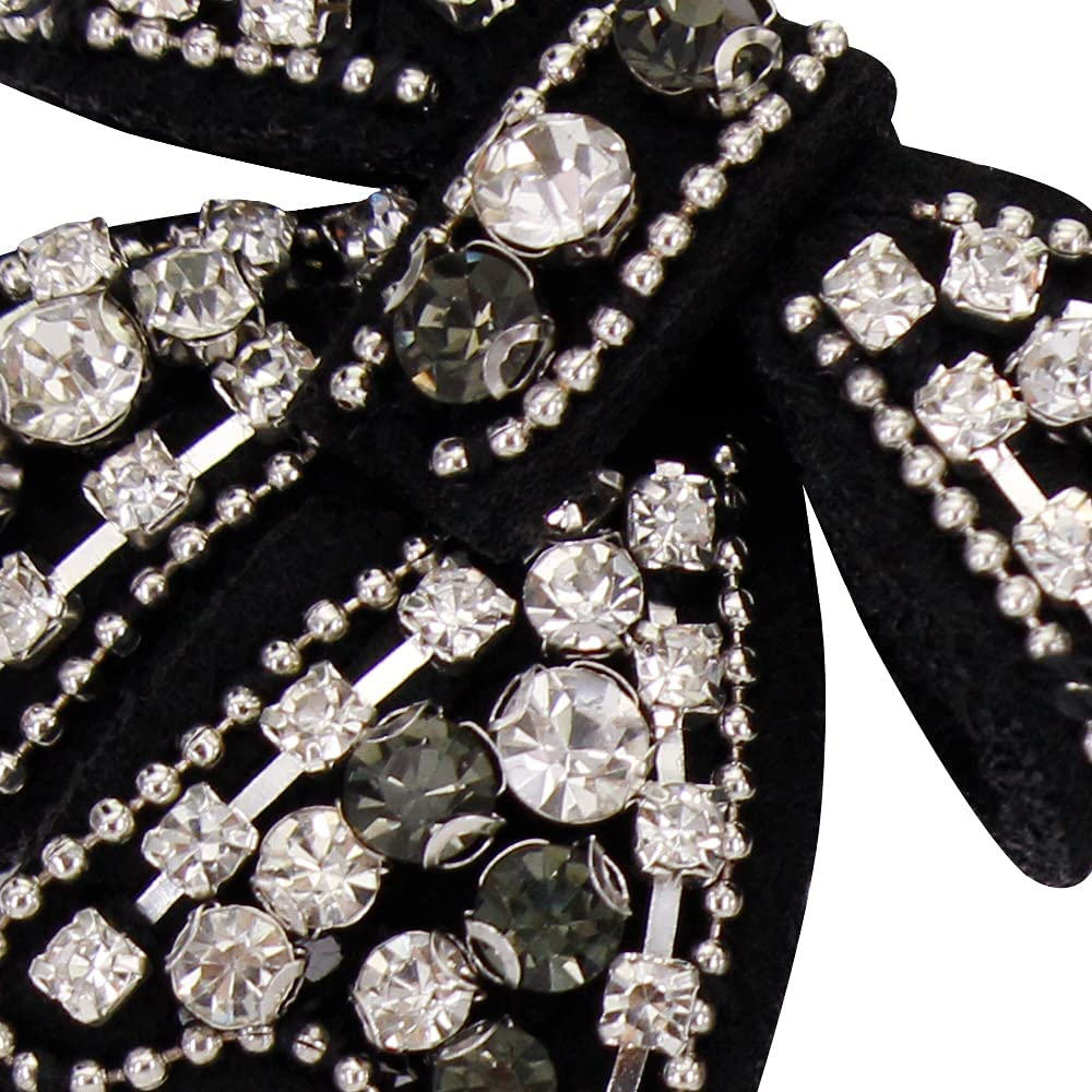 Women Crystal Bowknot Fashion Brooch Pre-Tied Neck Tie Brooch Pin for Wedding Bouquets
