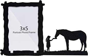 Innovative Fabricators, Inc. Girl Feeding Horse 3X5 Vertical Picture Frame